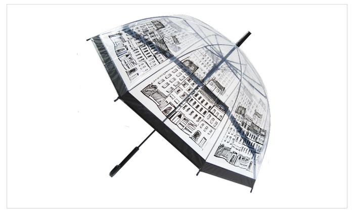 Unique Art 29.5 Inches Diameter London Building Dome Bubble Clear Rain Umbrella