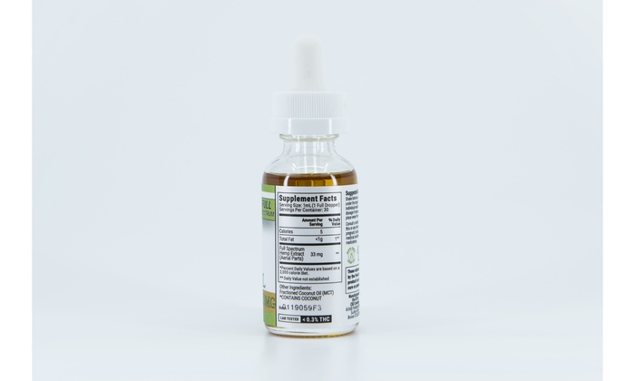 CBD Full Spectrum Hemp Oil Tincture with Coconut Oil 1000mg