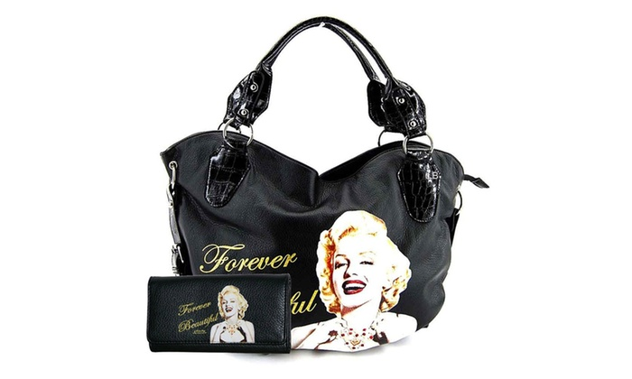 Licensed Marilyn Monroe Forever Beatutiful Bag & Wallet Set