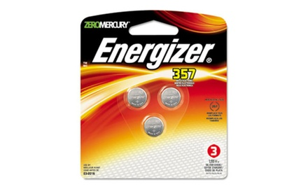 Energizer Watch/Electronic Battery, SilvOx, 357, 1.5V, MercFree, 3/Pk (EVE357BPZ3)