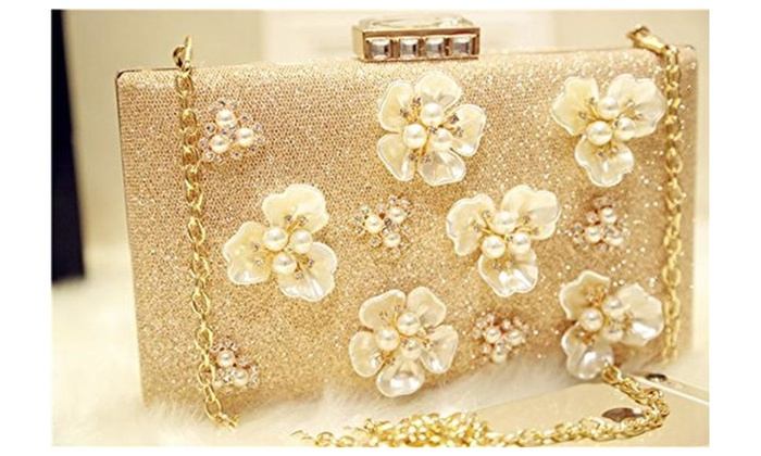 Floral Pearl Champagne Shining Women's Evening Cocktail Party Bag – Champagne / small clutch