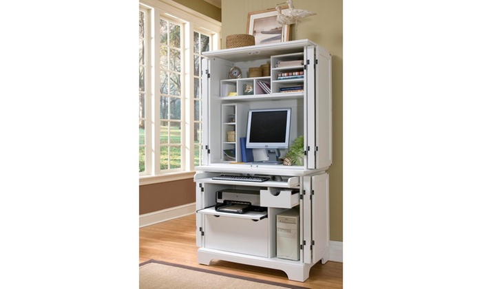Naples White Compact Computer Desk and Hutch