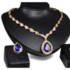 Red Blue Rhinestone Pendant Women Crystal Jewelry Set