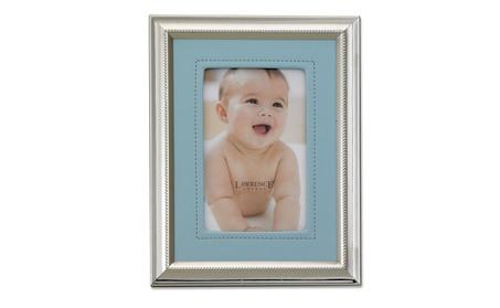 Silver Plated 4x6 Metal Picture Frame - Blue Faux Leather Mat c412ce18-da33-4d68-82dd-8fb0c8fdf739