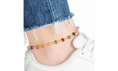 18K Gold Plated Round Crystal Anklet