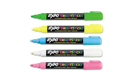Expo Bright Sticks Wet-Erase Fluorescent Markers Set, Bullet Tip, Pink/Blue/White/Yellow/Green (SAN14075)
