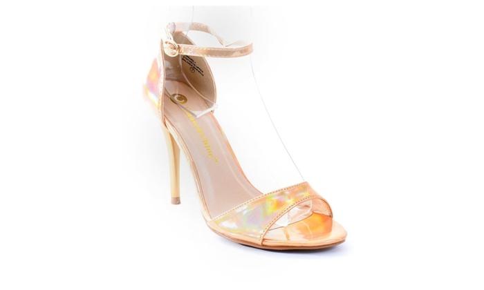 Gold Hologram Formal Open Toe Ankle Strap Heel Sandals