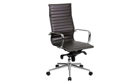 High Back Brown Ribbed Upholstered Leather Executive Office Chair 58b298d1-4955-46cc-bb5f-3b070aa6922a