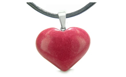 Amulet Large Puffy Heart Lucky Charm Gemstone Good Luck Powers Pendant Necklace