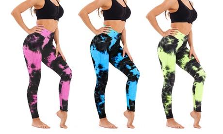 Women Leggings Yoga Pants Running Fitness Tie-dye Bubble Gym Sport Tight Pants