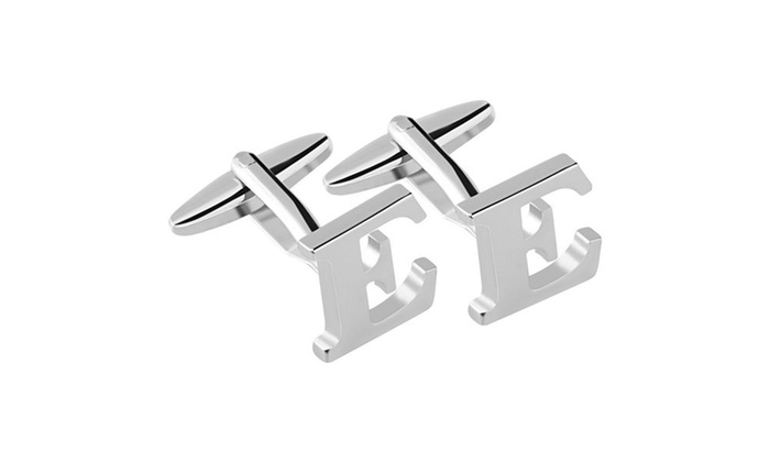 "Zodaca Men's Initial ""E"" Alphabet  Silver Copper Cufflinks Cuff Links"