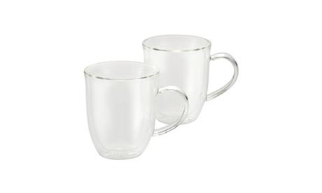 BonJour Coffee Insulated Borosilicate Glass Latte Cups 2pc Set 12oz Each 1a98a120-220b-4885-89ed-e543b71dd24c