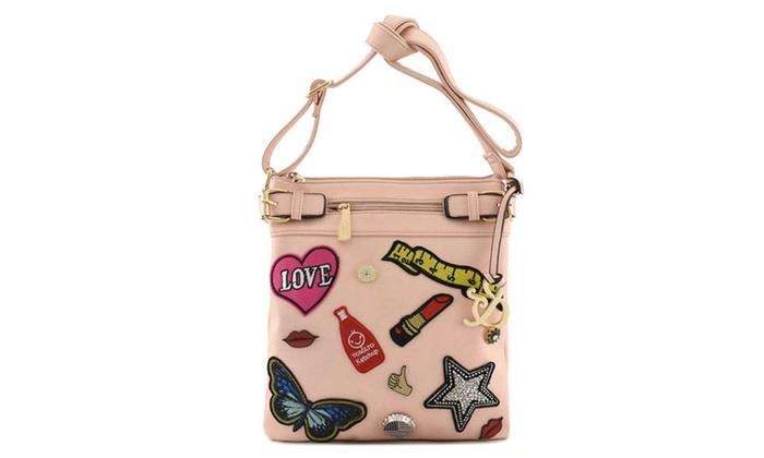 Itbagfashion: Women's Textured Faux Leather Designer Wappen Messenger Bag AJ098