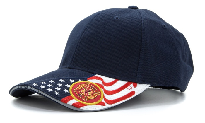 ab7dc4deba323 Embroidered USA Flag   Fire Department Baseball Cap Hat