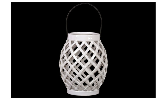 Ceramic Bellied Round Lantern W/Diagonal Cutout Design & Metal Handle
