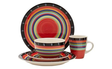 Gibson Home 97694.16r Casa Stella 16-Piece Dinnerware Set, Red photo