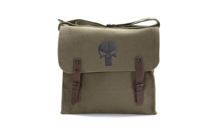 The Punisher Skull Canvas Military Mini Medic Shoulder Bag, Olive