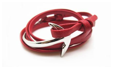Geniuen Leather with Silver Half Fish Anchor Bracelet
