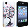 Insten Snap-on Case For Apple iPhone 4 4S, White Love Tree with Hearts