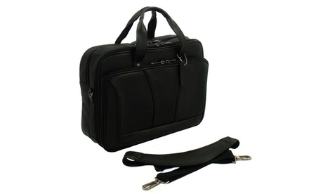 M by Staples Double Gusset Leather Laptop Computer Briefcase 8276cae4-128f-42ed-a83e-cc222604c5c7