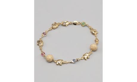18K Gold Plated Gold and Multi Color Crystal Bracelet
