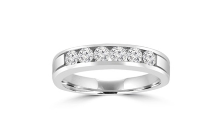 0.95 ct Men's Round Cut Diamond Wedding Band in 14 kt White Gold