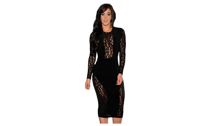 Women's Black Lace Accent Party Midi Dress - Black / one size
