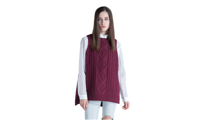 Women's Round Neck Cable Loose Pullover Sweater Vest