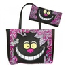 Alice in Wonderland Cheshire Cat Face Paisley Tote Handbag Wallet Set