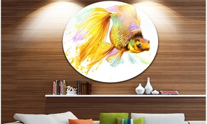 Gold Fish Illustration' Disc Animal Circle Metal Wall Art