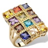 8.40 TCW Multicolor CZ 14k Gold-Plated Ring