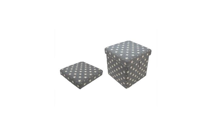 Superb 12 Decorative Gray Star Fabric Ottoman Storage Box Dailytribune Chair Design For Home Dailytribuneorg