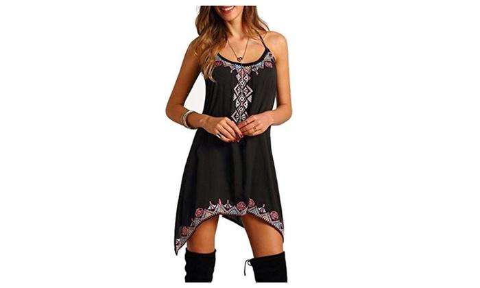 Women's Spaghetti Strap Boho Print Irregular Hem Dress