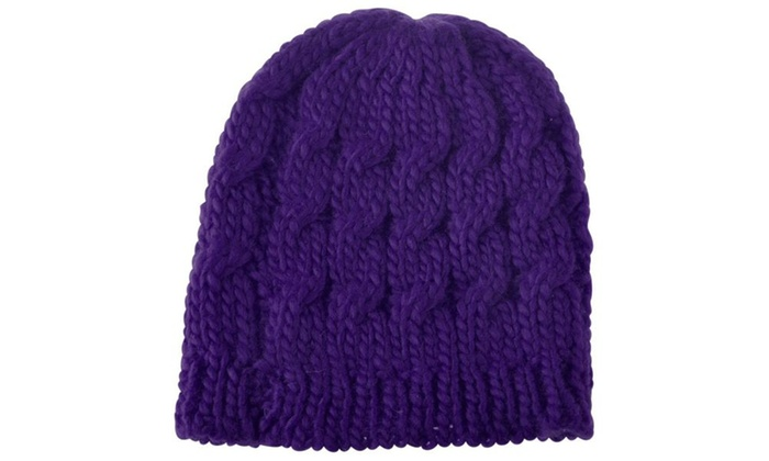 Zodaca Purple Women Knit Winter Warm Crochet Hat Braided Beanie Cap