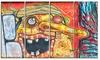 Funny Street Art Graffiti Metal Wall Art 48x28 4 Panels
