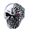 Stainless Steel Melted two Face Skull Ring with Red stone eye SSR191