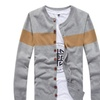 Men's Leisure Strips Prints Long Sleeve Knitted Cardigan Sweater
