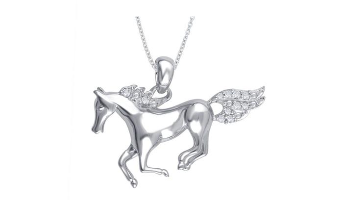 75 off on 008 cttw diamond horse penda groupon goods groupon goods 008 cttw diamond horse pendant in rhodium over st silver kk14fb0033 aloadofball Choice Image