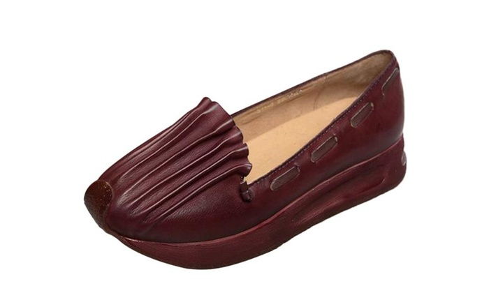 Women's Ruched Leather Slip On Shoes