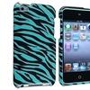 Insten Zebra Snap on Hard Plastic Case For iPod Touch 4 4 Blue / Blk