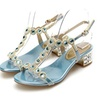 Naly Mid Heel Crystal Bridal Bridesmaid Dresses Shoes with Ankle Strap