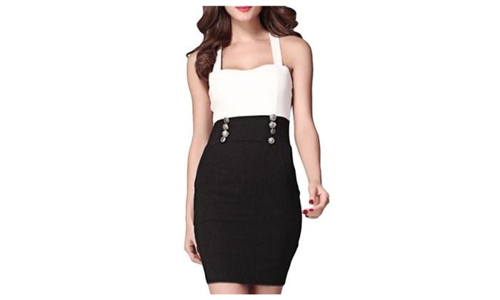 Women's Fashion Sexy Slim Fitted Sleeveless Splice Slip Dress