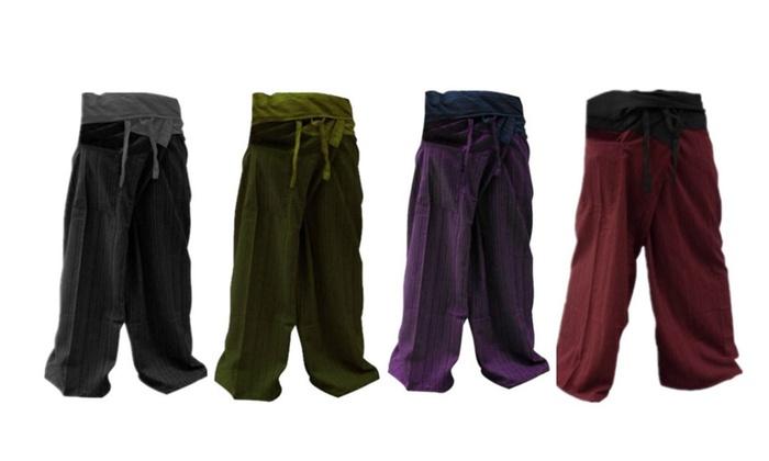880f00fb35 Unisex 2 Tone Thai Fisherman Pants Yoga Trousers Free Size Cotton ...