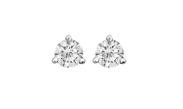 14k White Gold 3 G Diamond Stud Earrings 1 10 Carat
