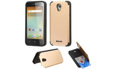 Insten Hard Rubber Case card holder For Alcatel One Touch Elevate Gold dbda2f1d-9857-43a8-b604-aec0ba87d85b