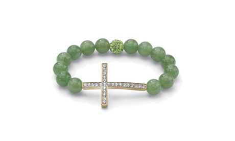 Green Agate and Crystal Cross Bracelet Gold Tone 9a6af8df-23a3-4707-976e-ac2202851249