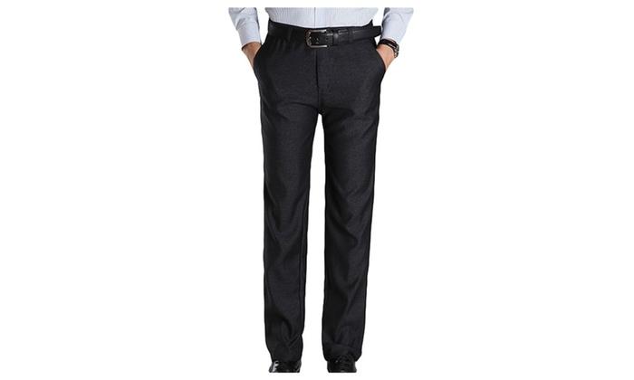 Men's Casual Flat-Front Straight Leg Slim Fit Casual Pants