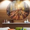 Crimean Mountains Yellow Autumn' Landscape Photography Circle Metal Wall Art