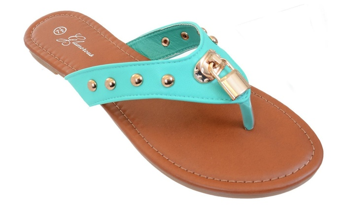 Lock Studded Flip-flop Thong Slip-on Sandals Fourever Funky