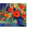 Sheila Golden Red Flowers Canvas Print